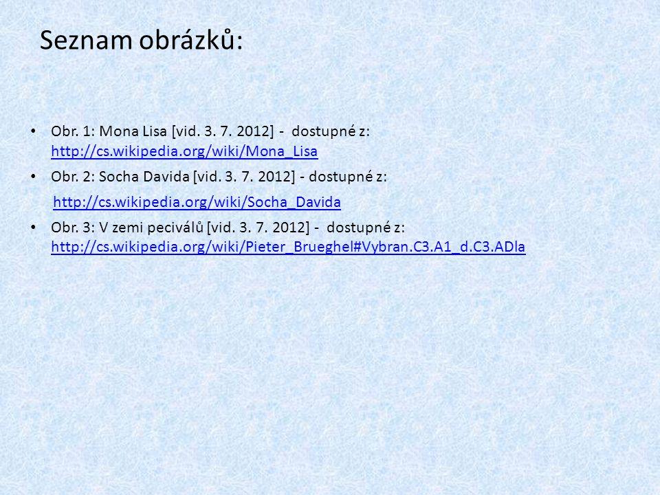 Seznam obrázků: Obr. 1: Mona Lisa [vid. 3. 7. 2012] - dostupné z: http://cs.wikipedia.org/wiki/Mona_Lisa.